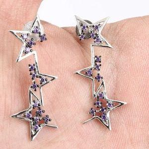 Sterling silver split stars & Amethyst earrings
